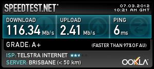Telstra Bigpond Ultimate speeds(Brisbane, Qld)