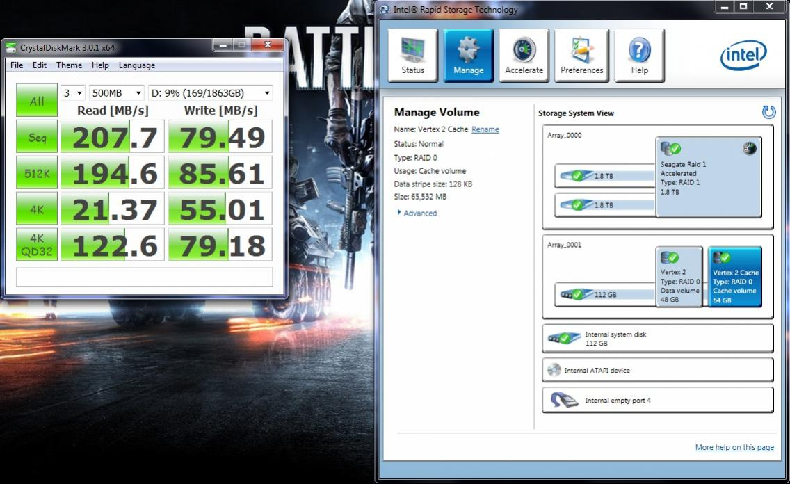 Intel SRT Cache /w a Vertex 2 accelerating 2x2TB Seagate Greens in Raid 1