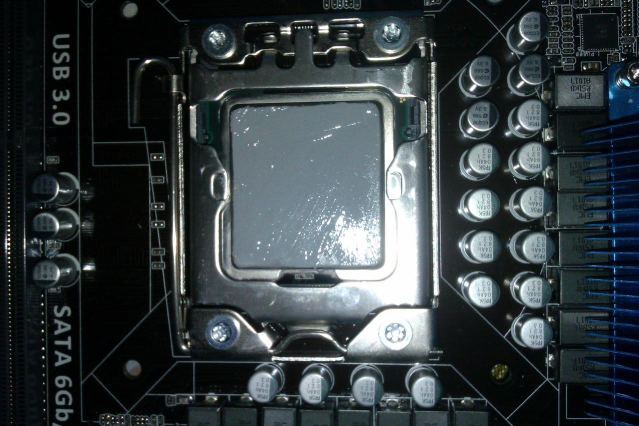 Use just enough thermal paste to cover the metal heatsink,