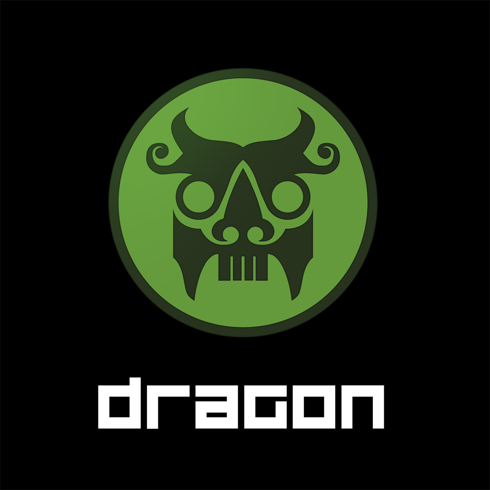 Dragon logo and text